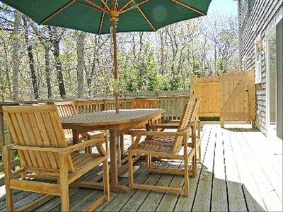 Private deck with all new teak furniture and outdoor showe