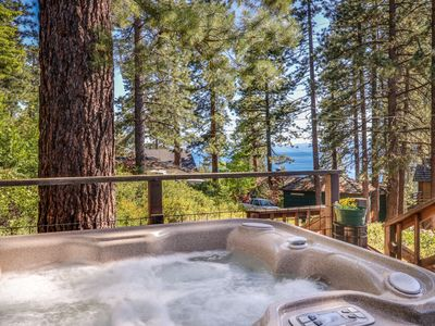 Photo for NEW LISTING! Tahoe cabin w/lake views, private hot tub & fireplace-walk to beach
