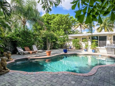 Photo for Private yard, heated pool, sanitized room, you're the only guest, pet friendly.