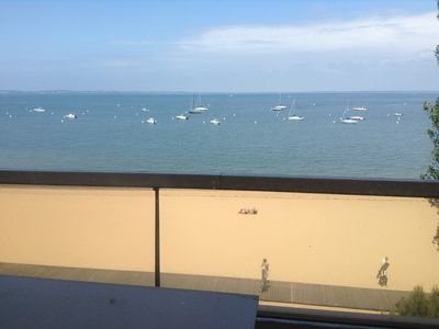 Photo for Arcachon T3 sea view 180 ° direct access beach, all on foot, new, cozy