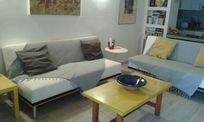 Living-room with renovated style! Two white big clik-clak confortable sofa-beds