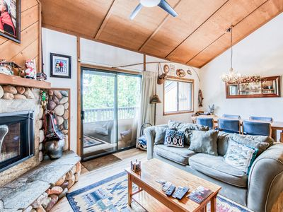 Photo for Dog-friendly chalet w/ shared pool, hot tub, stone fireplace, close to lake