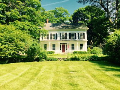 Front of the house, with two large lawns perfect for croquet and volleyball