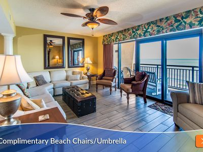 Photo for Enjoy Beautiful Sunrise from Oceanfront Balcony! Complimentary Beach Umbrella and Chairs Included.