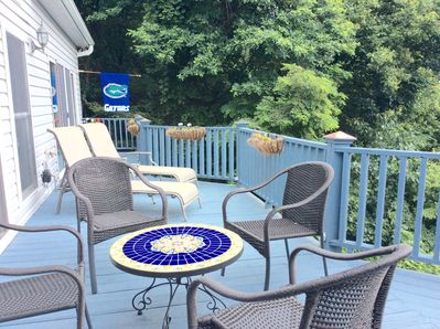 Enjoy views of Biltmore Estate, Grove Park Inn and Downtown Asheville from deck