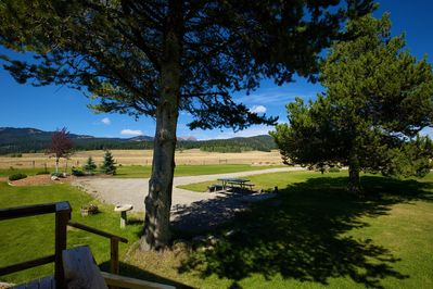 View from the deck, picnic table, parking space, awesome views!