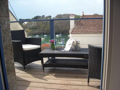 Photo for Magnificent apartment, view of Doelan port in southern Brittany