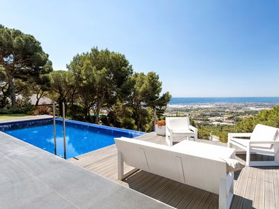 Photo for PANORAMIC CABRILS - LUXURY AND PRIVATE - Outdoor spaces that fall in love, from the pool & everywhere spectacular views of the sea and of Barcelon