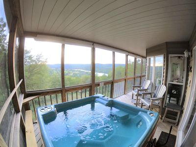 Hot tub on screened in porch