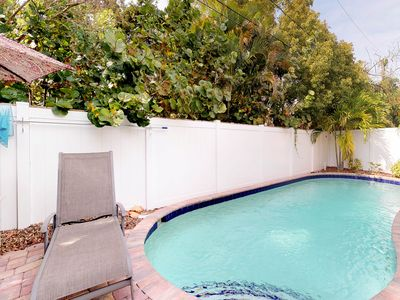 Photo for Dog-friendly retreat with a heated lagoon-style pool - two blocks to the beach!
