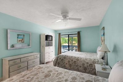 Master bedroom accommodates 4 with private balcony