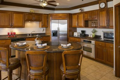 Villa St John's gourmet kitchen has room for many cooks or even a private chef!