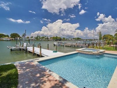 Photo for Salt water Heated POOL. Private Dock on Intracoastal waterway. Free WI-FI City of Indian Rocks Beach Business Tax Receipt #1631