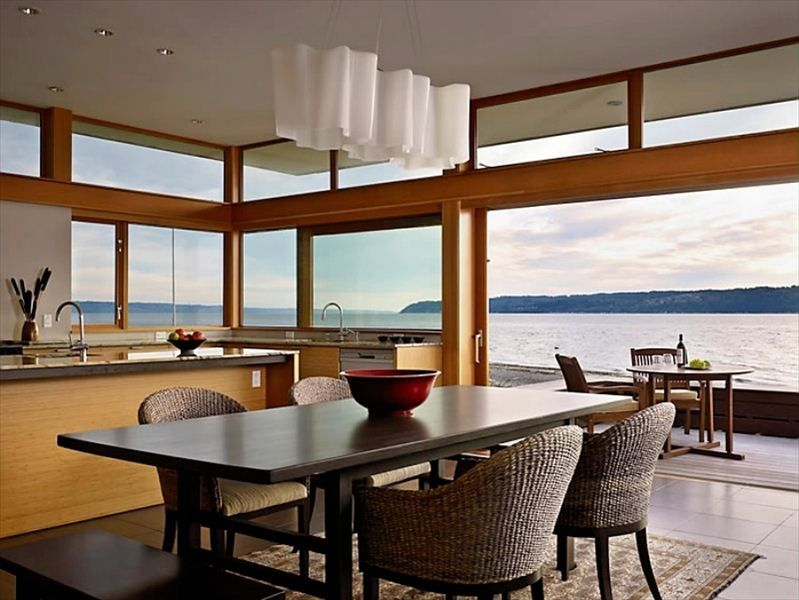Luxury ocean front home on private island puget sound for Furniture bank seattle