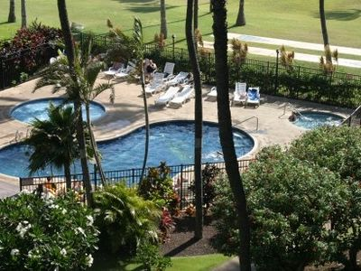 View of pool and spa from your large lanai Ocean and Beach 200 Feet away