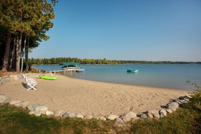 Our lake home is on a natural sand bar - this is your own private beach!