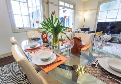 Level 1 Beige decor with navy and orange accents