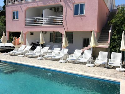 Photo for Two bedroom apartment with terrace and sea view Orebić, Pelješac (A-10166-d)