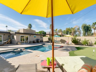 Photo for 3BR/3BA Centrally Located Retreat, Saltwater Pool, Spa, Firepit, & Pool Table