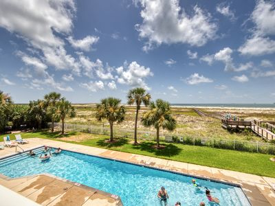 Photo for Gulf front condo on 2nd floor w/ free WiFi, outdoor pool & beach access!