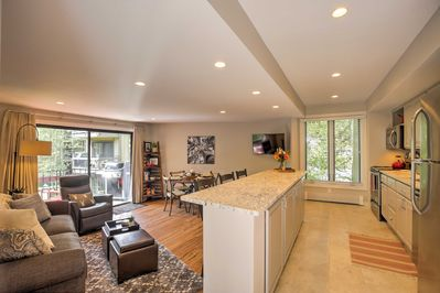 The open layout of the condo allows conversation to flow freely amongst your group.