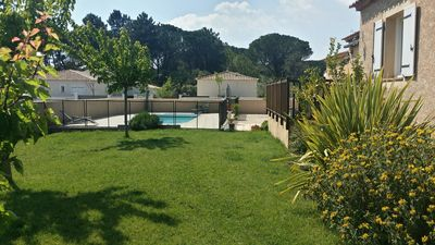 Photo for Beautiful villa with pool - view of the Pont du Gard from the terrace