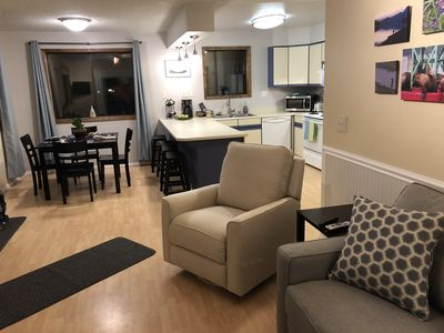 View of the kitchen and dining area from the living room.