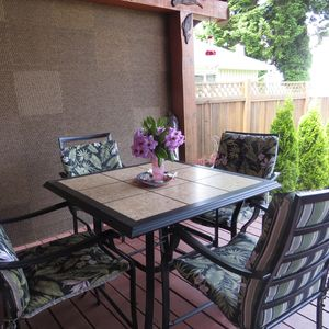 LAWN CHAIRS  FOR PRIVATE TANNING, BBQ AND PROPANE FIRE PIT. BEAUTIFUL VIEW!