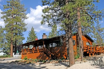 4 Seasons Of Fun Cabin Front in Spring Summer Fall at Big Bear Lake CA