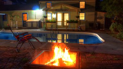 The Pool House viewed from the fire pit and pool