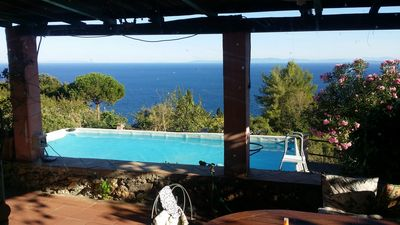 Photo for Beautiful  mediterranean cottage with private pool & garden and amazing sea view