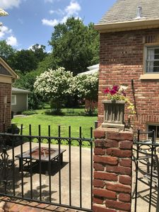 New Orleans-inspired wrought iron and brick patio wall and crepe myrtle trees