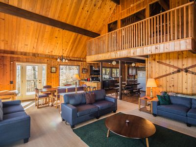 Photo for Mountainside Lodge is a great home to spend your winter vacation with a fabulous great room and a field stone fireplace.