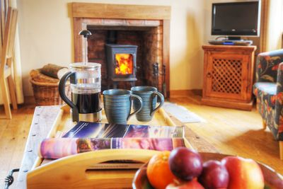Relax in front of the log stove