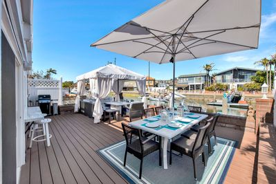 Outdoor Deck with Cabana, Fire Pit and Dining. Overlooking your Dock.