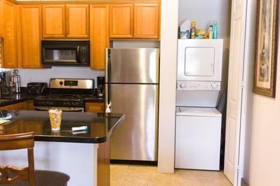 Kitchen has dishwasher, microwave, oven, Keurig coffee,washer and dryer