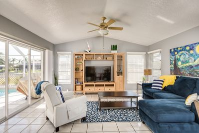 Living Room - Screen your favorite movie on the large flat screen TV. Complimentary Wi-Fi included.