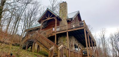 Photo for Log Chalet on the Clouds with a Million Dollar View! Hot Tub! Close to Downtown!