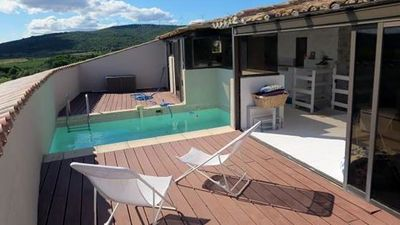 Roof terrace with conservatory and heated plunge pool