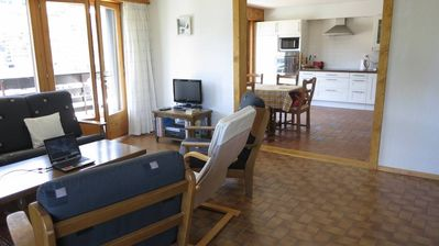 Photo for Large sunny appartment, stunning views, swimming pool, large kitchen, 412km of ski slopes