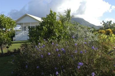 Black Sand Cove cottage with Mt Nevis behind