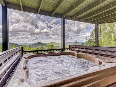 Photo for Mountain view cabin w/ private hot tub, wraparound deck, & fireplace!