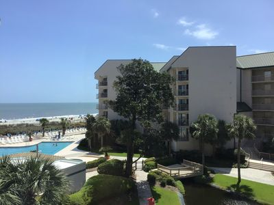 Our condo is right on the Ocean. Just steps to the Beach