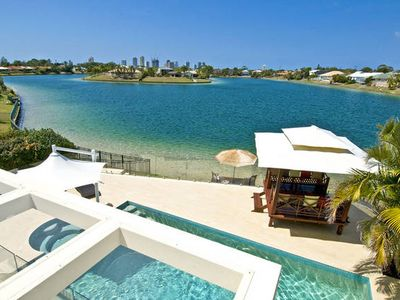 Photo for BROADBEACH WATERFRONT Award winning luxury home , pool, spa on shark free lake