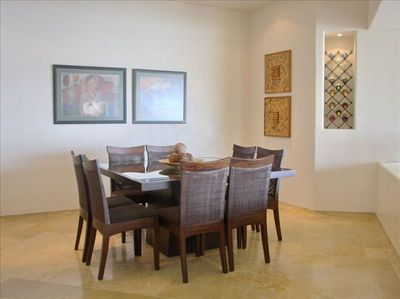 DINING ROOM WITH 8 CHAIRS AND WINE WITH WINE CELLAR AREA !!