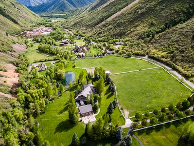 Breath taking view of Hobble Creek Lodge in the Canyon and the yard area.