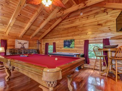 Photo for Mountain view cabin w/ indoor pool & sauna, gas fireplace, hot tub, game room