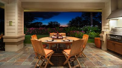 Enjoy outdoor dining with gorgeous Hawaiian sunset as backdrop
