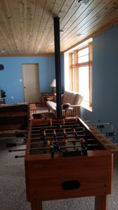 foosball table in basement