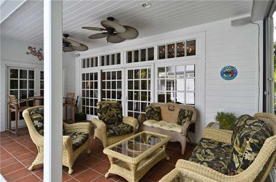 Covered porch with French Doors to Living room